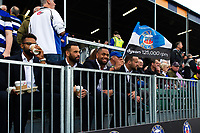 Joe Cokanasiga and other non-playing Bath Rugby players look on from the stand. Heineken Champions Cup match, between Bath Rugby and Stade Toulousain on October 13, 2018 at the Recreation Ground in Bath, England. Photo by: Patrick Khachfe / Onside Images