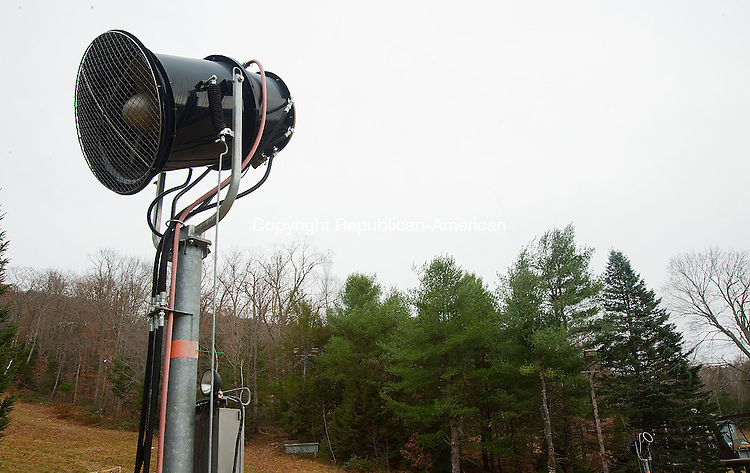 NEW HARTFORD- 111213JS04- With 180 snow suns, both fan guns, pictured here, and tower guns placed throughout the mountain, Ski Sundown in New Hartford is preparing for ski another.<br />  Jim Shannon Republican-American