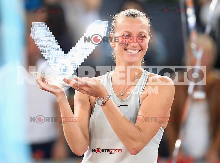 Petra Kvitova, Czech Republic, celebrates the victory in the Madrid Open Tennis 2018 Final match. May 12, 2018.(ALTERPHOTOS/Alberto Simon)