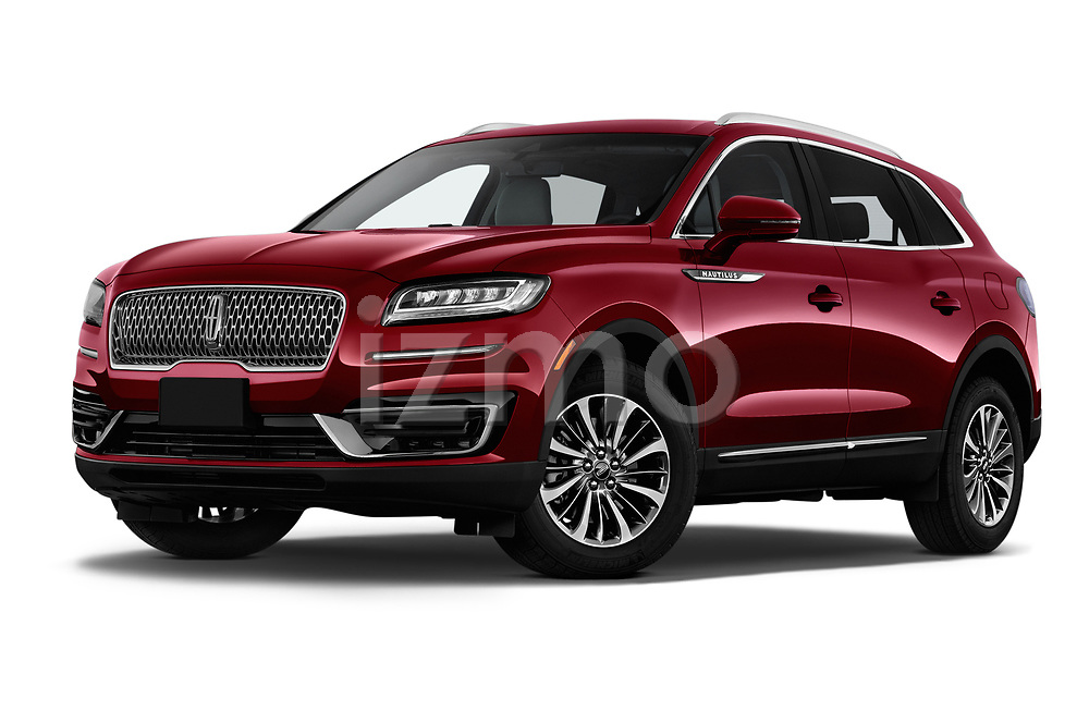 Stock pictures of low aggressive front three quarter view of a 2019 Lincoln Nautilus Select 5 Door SUV