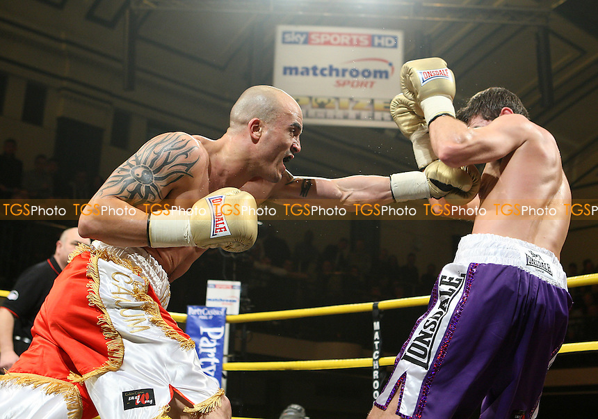 Brett Flournoy (red/gold shorts) defeats Steve O'Meara in the Semi-Final of Prizefighter 'The Light Middleweights' at York Hall, Bethnal Green, promoted by Matchroom Sports / Barry Hearn - 26/02/10 - MANDATORY CREDIT: Gavin Ellis/TGSPHOTO - Self billing applies where appropriate - Tel: 0845 094 6026