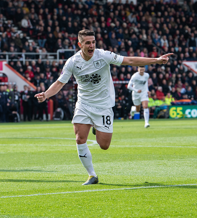 Burnley's Ashley Westwood celebrates scoring his side's second goal <br /> <br /> Photographer David Horton/CameraSport<br /> <br /> The Premier League - Bournemouth v Burnley - Saturday 6th April 2019 - Vitality Stadium - Bournemouth<br /> <br /> World Copyright © 2019 CameraSport. All rights reserved. 43 Linden Ave. Countesthorpe. Leicester. England. LE8 5PG - Tel: +44 (0) 116 277 4147 - admin@camerasport.com - www.camerasport.com