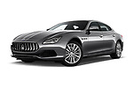 Stock pictures of low aggressive front three quarter view of a 2018 Maserati Quattroporte S 2WD 4 Door Sedan