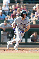 Salt River Rafters right fielder Sam Hilliard (14), of the Colorado Rockies organization, starts down the first base line during the Arizona Fall League Championship Game against the Peoria Javelinas at Scottsdale Stadium on November 17, 2018 in Scottsdale, Arizona. Peoria defeated Salt River 3-2 in 10 innings. (Zachary Lucy/Four Seam Images)