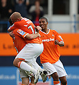 George Pilkington of Luton (l) celebrates scoring the second goal with Adam Murray during the Blue Square Bet Premier match between Luton Town and Cambridge United at Kenilworth Road, Luton  on 11th September 2010.© Kevin Coleman 2010