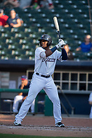 Northwest Arkansas Naturals outfielder Khalil Lee (24) awaits a pitch during a Texas League game between the Northwest Arkansas Naturals and the Arkansas Travelers on May 30, 2019 at Arvest Ballpark in Springdale, Arkansas. (Jason Ivester/Four Seam Images)