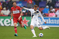Bridgeview, IL - Saturday April 14, 2018: Jorgen Skjelvik, Alan Gordon during a regular season Major League Soccer (MLS) match between the Chicago Fire and the LA Galaxy at Toyota Park.  The LA Galaxy defeated the Chicago Fire by the score of 1-0.