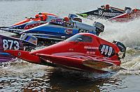 Polesitter Sam LaBlanco, #440 leads the field off the start dock (Sport C Tunnel Boat(s)