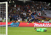 February 1st 2019; Adu Dhabi, United Arab Emirates; Asian Cup football final, Japan versus Qatar; Takumi Minamino of Japan scores during the final match between Japan and Qatar
