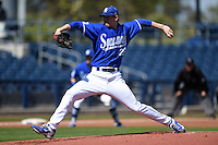 Indiana State Sycamores pitcher Jeff Degano (26) delivers a pitch during a game against the Vanderbilt Commodores on February 21, 2015 at Charlotte Sports Park in Port Charlotte, Florida.  Indiana State defeated Vanderbilt 8-1.  (Mike Janes/Four Seam Images)