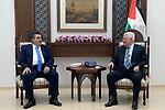 Palestinian President Mahmoud Abbas meets with Bethlehem mayor Tony Salman, in the West Bank city of Ramallah on October 2, 2018. Photo by Thaer Ganaim