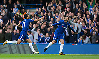 Pedro of Chelsea celebrates scoring his goal with Eden Hazard of Chelsea during the Premier League match between Chelsea and Watford at Stamford Bridge, London, England on 21 October 2017. Photo by Andy Rowland.