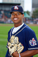 New Hampshire Fisher Cats pitcher Marcus Stroman #26 poses for a photo before an Eastern League game against the Erie Seawolves at Jerry Uht Park on August 9, 2012 in Erie, Pennsylvania.  Erie defeated New Hampshire 6-0.  (Mike Janes/Four Seam Images)