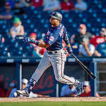 2 March 2019: Minnesota Twins top prospect infielder Luis Arraez in action during a Spring Training game against the Washington Nationals at the Ballpark of the Palm Beaches in West Palm Beach, Florida. The Twins fell to the Nationals 10-6 in Grapefruit League play. Mandatory Credit: Ed Wolfstein Photo *** RAW (NEF) Image File Available ***