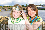 The 1979 Queen of Puck Regina Horgan places the crown on the 2009 Queen Cassie O'Grady at the Puck Fair festival launch in the Fishery bar Killorglin on Thursday evening