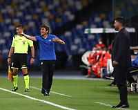 13th June 2020; Stadio San Paolo, Naples, Campania, Italy; Coppa Italia Football, Napoli versus Inter Milan;  Antonio Conte coach of Inter  gets animated on the sideline