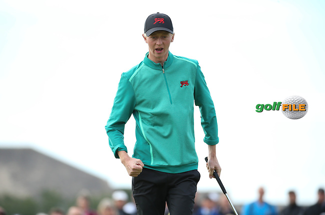 Jimmy Mullen (ENG) wins the 12th hole during Sunday morning Foursome matches of The Walker Cup 2015 played at Royal Lytham and St Anne's, Lytham St Anne's, Lancashire, England. 13/09/2015. Picture: Golffile | David Lloyd<br /> <br /> All photos usage must carry mandatory copyright credit (&copy; Golffile | David Lloyd)