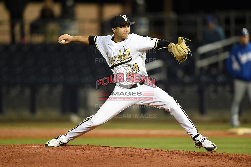 Vanderbilt Commodores pitcher Jordan Sheffield (24) delivers a pitch during a game against the Indiana State Sycamores on February 20, 2015 at Charlotte Sports Park in Port Charlotte, Florida.  Vanderbilt defeated Indiana State 3-2.  (Mike Janes/Four Seam Images)