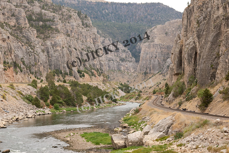Bighorn River running through the Wind River Canyon