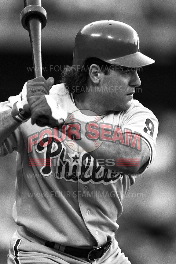 Pete Incaviglia of the Philadelphia Phillies at Dodger Stadium in Los Angeles,California during the 1996 season. (Larry Goren/Four Seam Images)