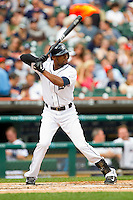 Austin Jackson (14) of the Detroit Tigers at bat against the Los Angeles Angels at Comerica Park on June 25, 2013 in Detroit, Michigan.  The Angels defeated the Tigers 14-8.  (Brian Westerholt/Four Seam Images)