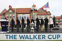 The raising of the American flag during the Official Opening of the Walker Cup, Royal Liverpool Golf CLub, Hoylake, Cheshire, England. 06/09/2019.<br /> Picture Thos Caffrey / Golffile.ie<br /> <br /> All photo usage must carry mandatory copyright credit (© Golffile | Thos Caffrey)