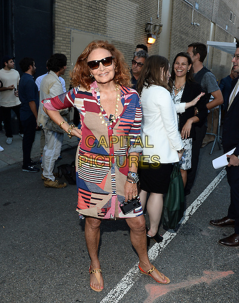 NEW YORK, NY - JULY 13: Designer Diane Von Furstenberg pictured at NYFW: M Opening Press Moment at the Skylight Clarkson Sq in New York City,July 13 ,2015. <br /> CAP/MPI/RTNPLU<br /> &copy;RTNPLU/MPI/Capital Pictures