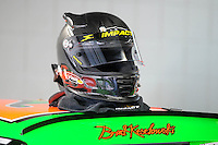 Oct. 15, 2009; Concord, NC, USA; The helmet of NASCAR Sprint Cup Series driver Brad Keselowski during practice for the Banking 500 at Lowes Motor Speedway. Mandatory Credit: Mark J. Rebilas-