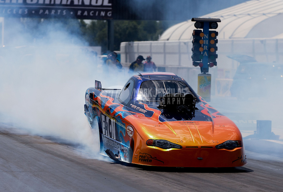 Aug. 31, 2013; Clermont, IN, USA: NHRA top alcohol funny car driver Todd Robertson during qualifying for the US Nationals at Lucas Oil Raceway. Mandatory Credit: Mark J. Rebilas-