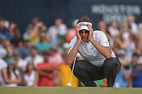 Ian Poulter (GBR) lines up his putt on 18 during round 4 of the Houston Open, Golf Club of Houston, Houston, Texas. 4/1/2018.<br /> Picture: Golffile | Ken Murray<br /> <br /> <br /> All photo usage must carry mandatory copyright credit (&copy; Golffile | Ken Murray)