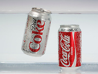 BUOYANCY AND DENSITY<br /> Diet Coke Versus Classic Coke<br /> Nutrisweet in diet coke is hundreds of times sweeter per unit volume than sugar which is denser than water. The 11 tsp of sugar in Classic Coke is taken up by water in Diet Coke. Diet Coke floats while Classic Coke does not.