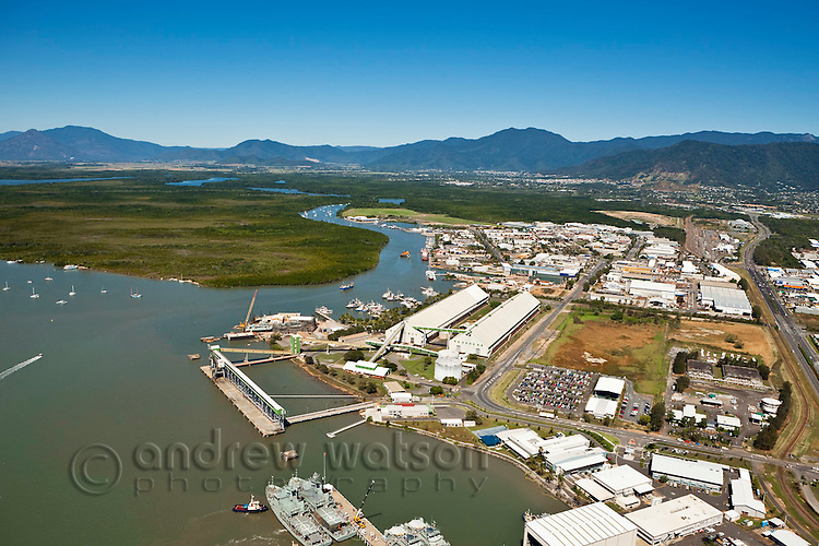Aerial view of Portsmith industrial area and Trinity Inlet.  Cairns, Queensland, Australia