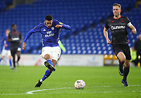 4th February 2020; Cardiff City Stadium, Cardiff, Glamorgan, Wales; English FA Cup Football, Cardiff City versus Reading; Robert Glatzel of Cardiff City shoots to score Cardiff City's second goal making it 2-0 in the 54th minute