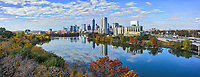 We also like this aerial from the lower level with the wonderful fall colors in the trees with the great reflections of the high rise buildings and clouds in the waters of Lady Bird Lake.  It is seldom that the water is this calm that it mirrors the building so nicely in the reflections.