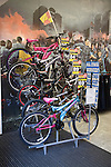 Shop display of children's bicycles with price reductions.