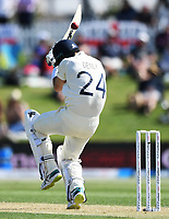21st November 2019; Mt Maunganui, New Zealand;  England's Joe Denly ducks a bouncer, international test match cricket, Day 1, New Zealand versus England at Bay Oval, Mt Maunganui, New Zealand.