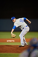 Dunedin Blue Jays relief pitcher Jonathan Cheshire (18) during a game against the Charlotte Stone Crabs on June 5, 2018 at Charlotte Sports Park in Port Charlotte, Florida.  Dunedin defeated Charlotte 9-5.  (Mike Janes/Four Seam Images)
