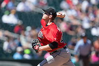 Indianapolis Indians starting pitcher Casey Sadler (45) delivers a pitch to the plate against the Charlotte Knights at BB&T BallPark on June 21, 2015 in Charlotte, North Carolina.  The Knights defeated the Indians 13-1.  (Brian Westerholt/Four Seam Images)