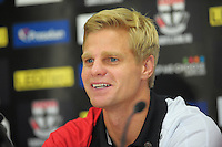 Saints captain Nick Riewoldt talks to the media during the St Kilda Saints v Sydney Swans press conference at the Aotea Lounge, Westpac Stadium, Wellington, New Zealand on Wednesday, 24 May 2013. Photo: Dave Lintott / lintottphoto.co.nz