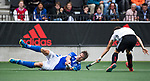 AMSTELVEEN - Bjorn Kellerman (Kampong)   tijdens  de  eerste finalewedstrijd van de play-offs om de landtitel in het Wagener Stadion, tussen Amsterdam en Kampong (1-1). Kampong wint de shoot outs.  . COPYRIGHT KOEN SUYK