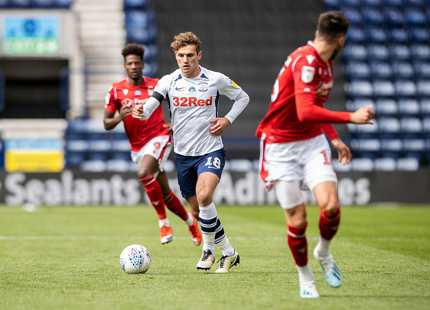 Preston North End's Ryan Ledson (centre) breaks <br /> <br /> Photographer Andrew Kearns/CameraSport<br /> <br /> The EFL Sky Bet Championship - Preston North End v Nottingham Forest - Saturday 11th July 2020 - Deepdale Stadium - Preston <br /> <br /> World Copyright © 2020 CameraSport. All rights reserved. 43 Linden Ave. Countesthorpe. Leicester. England. LE8 5PG - Tel: +44 (0) 116 277 4147 - admin@camerasport.com - www.camerasport.com