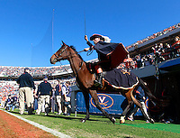 Oct. 15, 2011-Charlottesville, VA.-USA- The Virginia Cavaliers mascot rides his horse onto the field before the start of an ACC football game against Georgia Tech at Scott Stadium. Virginia won 24-21. (Credit Image: © Andrew Shurtleff)