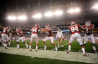 Jan. 1, 2011; Glendale, AZ, USA; Oklahoma Sooners players warm up prior to the game against the Connecticut Huskies in the 2011 Fiesta Bowl at University of Phoenix Stadium. Mandatory Credit: Mark J. Rebilas-