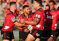 The Crusaders celebrate during the round two Super Rugby match between the Crusaders and the Chiefs at AMI Stadium in Christchurch, New Zealand on Saturday, 24 February 2018. Photo: Martin Hunter/ lintottphoto.co.nz