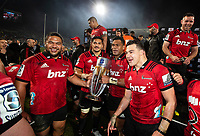 Crusaders celebrate following the 2018 Super Rugby final between the Crusaders and Lions at AMI Stadium in Christchurch, New Zealand on Sunday, 29 July 2018. Photo: Joe Johnson / lintottphoto.co.nz