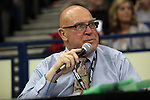 02/26/11--Oregon City's Ed Burton has been emceeing the state championship wrestling tournament for over 20 years..Photo by Jaime Valdez........................................