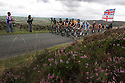 10/09/12 ..A couple of minutes behind the leading six riders, Bradley Wiggins and Mark Cavendish are obscured by Luke Rowe (who won yesterday's stage in orange shirt) in the main group of The Tour of Britain cyclists as they make their way up the biggest climb of the the day at Morridge high up in the Peak District in Staffordshire on the second day of the race which runs from Nottingham to Knowsley Safari Park, Merseyside...All Rights Reserved - F Stop Press.  www.fstoppress.com. Tel: +44 (0)1335 300098.Copyrighted Image. Fees charged will reflect previously agreed terms or space rates for individual publications, states or country.
