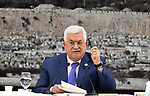 Palestinian President Mahmoud Abbas chairs a meeting of the Palestinian leadership at the presidential compound in the West Bank city of Ramallah on July 25, 2109. Abbas has announced that all standing agreements with Israel will be suspended indefinitely, following the bulldozing of homes in the occupied West Bank. Photo by Thaer Ganaim