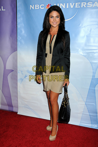 NADIA BJORLIN.NBC Universal Press Tour All-Star Party held at the Langham Huntington Hotel and Spa, Pasadena, California, USA, 13th January 2011..full length dress tanned bag nude shoes jacket  beauty beige  black jacket zip .CAP/ADM/BP.©Byron Purvis/AdMedia/Capital Pictures.