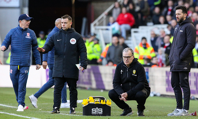 Leeds United manager Marcelo Bielsa watches on during the second half<br /> <br /> Photographer Alex Dodd/CameraSport<br /> <br /> The EFL Sky Bet Championship - Middlesbrough v Leeds United - Saturday 9th February 2019 - Riverside Stadium - Middlesbrough<br /> <br /> World Copyright &copy; 2019 CameraSport. All rights reserved. 43 Linden Ave. Countesthorpe. Leicester. England. LE8 5PG - Tel: +44 (0) 116 277 4147 - admin@camerasport.com - www.camerasport.com